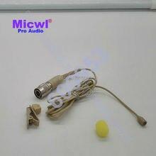 MICWL A6-TH Beige/Black Omnidirectional Micro Mini Lavalier Lapel Microphone for Audio Technica Wireless - Hirose 4 pin
