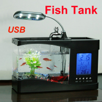 Mini USB LCD Desktop Fish Tank Aquarium Clock Timer Calendar LED Light Lamp BS
