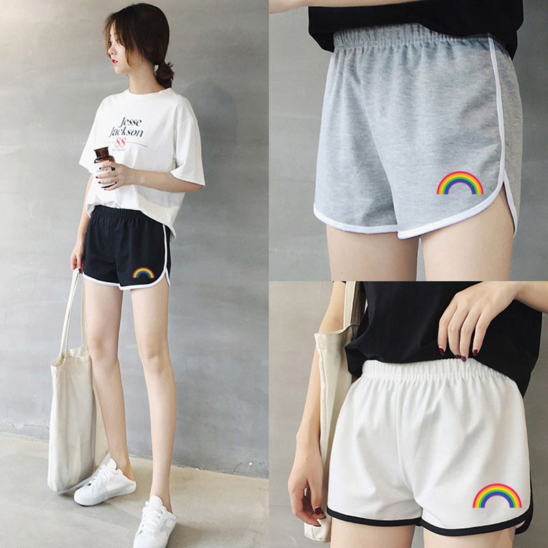 Rainbow Sexy Trim   Shorts   Workout Ladies Black Mid Waist Striped Casual   Shorts   High Waist Push Up Autumn Elastic Waist Loose