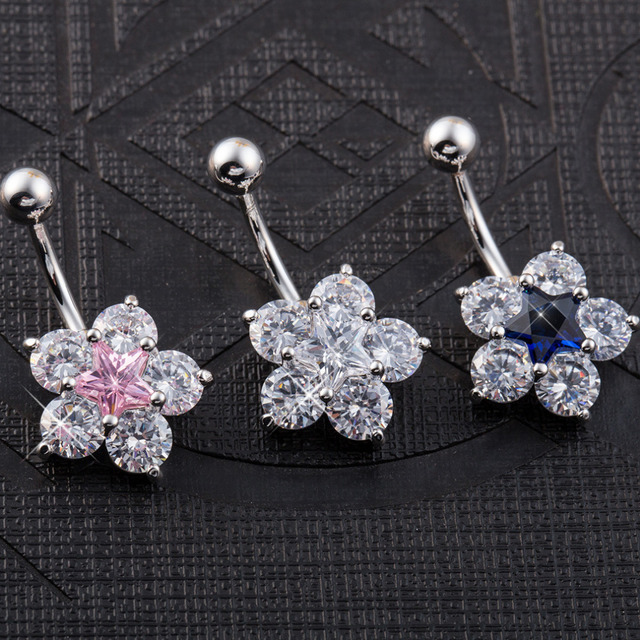 Surgical Steel Snowflake Rhinestones Belly Button Ring
