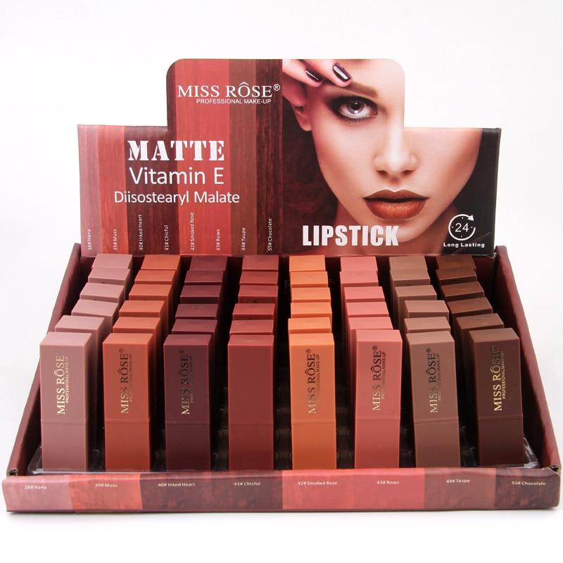 48 teile/los Samt Lippenstift Make Up Sexy Lip Farbe Kosmetische Pigment Nude Rot Wasserdicht Langlebige Matte Lip Gloss Lippenstift Bleistift