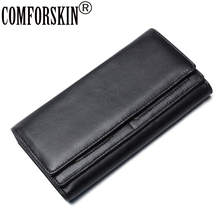COMFORSKIN Luxurious Genuine Leather Cover Style Men Wallets Brand Designer Large Capacity Clutch Wallet Carteira Masculina