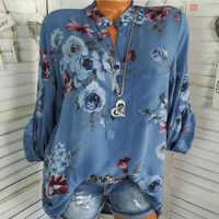 Frauen Floral Print Chiffon Bluse Langarm V-ausschnitt Shirt Weibliche Gedruckt Tops Lose Tasche Blusen Harajuku