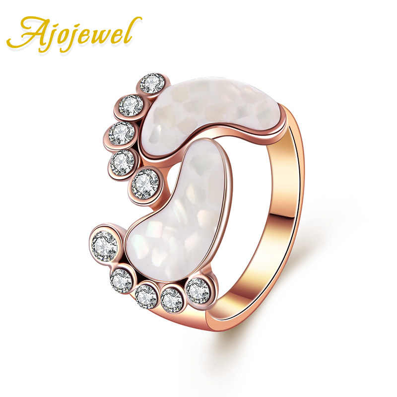 Ajojewel Lovely Style Rose Gold Color Crystal Shell Baby Foot Rings For Women Size 6-9