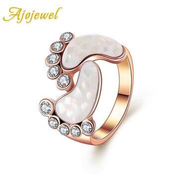 Ajojewel прекрасный Стиль розовое золото Цвет кристалл оболочки Baby Foot  кольца для Для женщин Размеры 6-9 ce8f8dc7dbf9