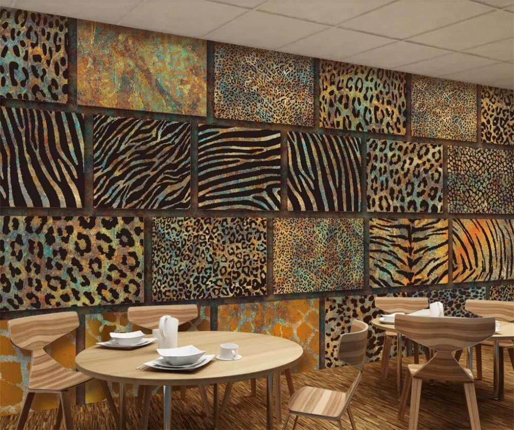 Beibehang Custom Papel De Parede 3d Wall Paper Animal Fur Texture Leopard Retro Restaurant Bar Background Wall Paper 3d Murals