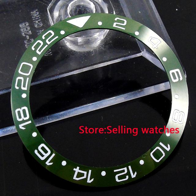 39.8mm verde oliva inserir moldura para 43mm sub GMT cerâmica mens watch