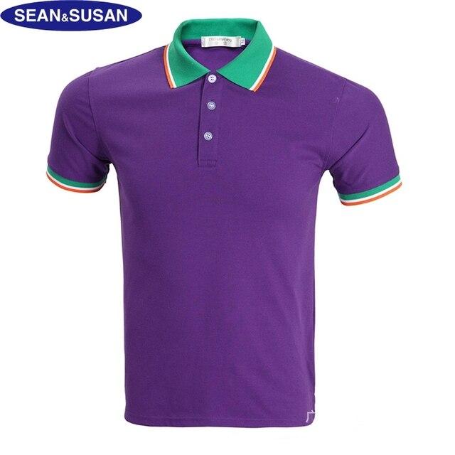 Шон и Сьюзан Бренд Поло Рубашки Мужчин Тис Лето Топы Тис Фиолетовый хлопок Рубашка 2 Цвета Вскользь Crocodile Polo Классический Большой Размер 3XL