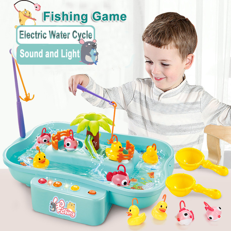 Water Rotating Fishing Toy with Music and Light Duck Fishing Games Electric Fish Toy for Children Kids Girl Boys Toys 3 Years