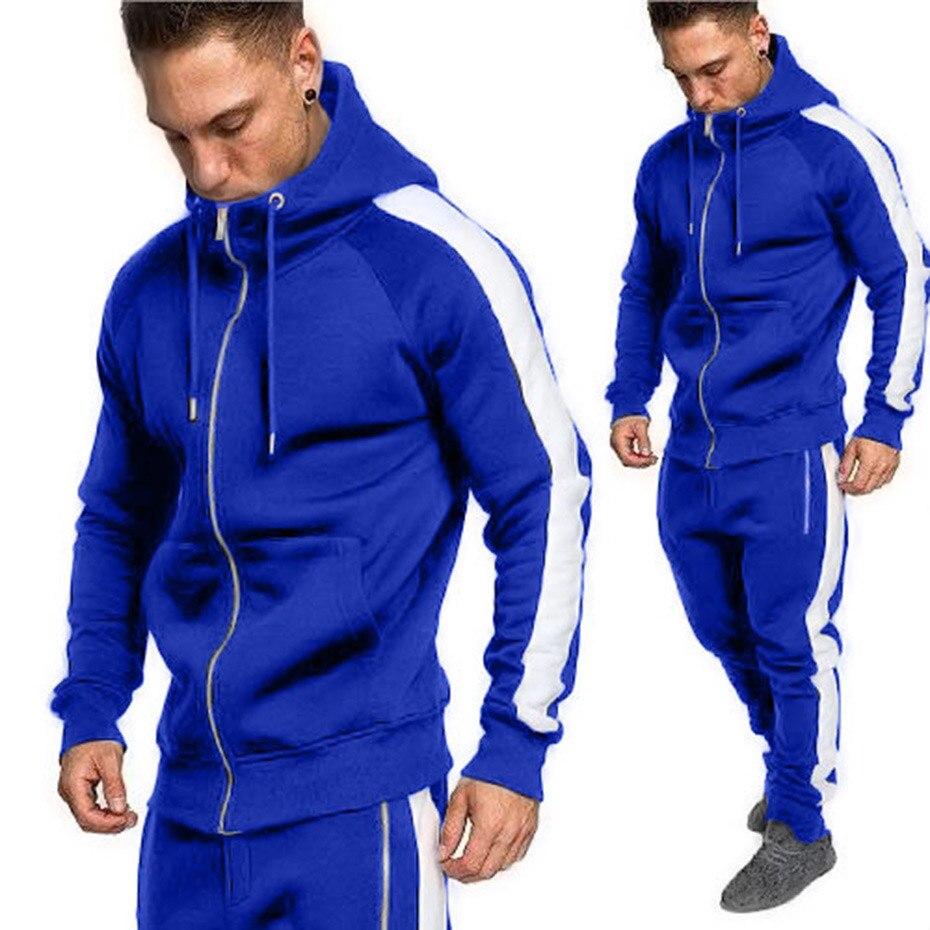ZOGAA Mens Two Piece Tops And Pants Set Casual Zipper Outerwear Sweat Suit 2 Piece Set Plus Size Tracksuit Men Clothing 2019