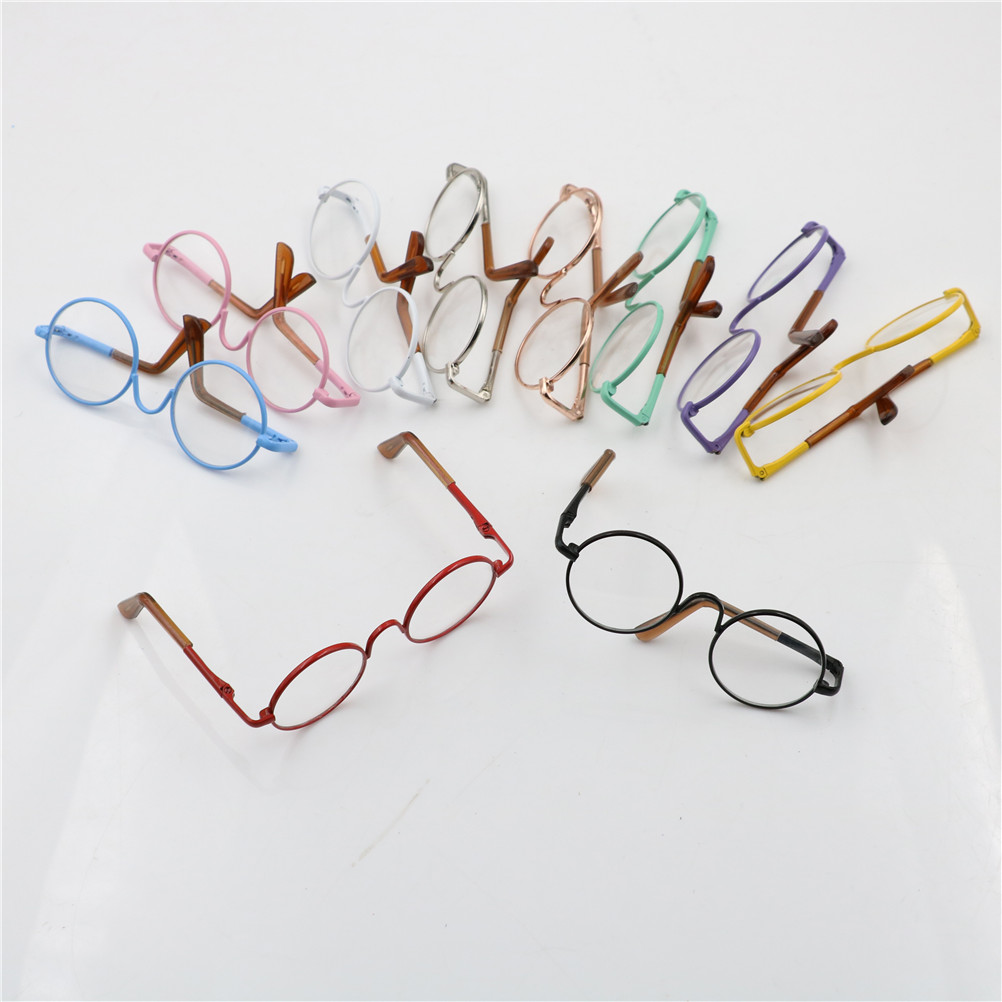 Colorful <font><b>glasses</b></font> Round <font><b>glasses</b></font> suitable for <font><b>BJD</b></font> blythe doll as for dolls sunglasses Doll Accessories round-shaped image