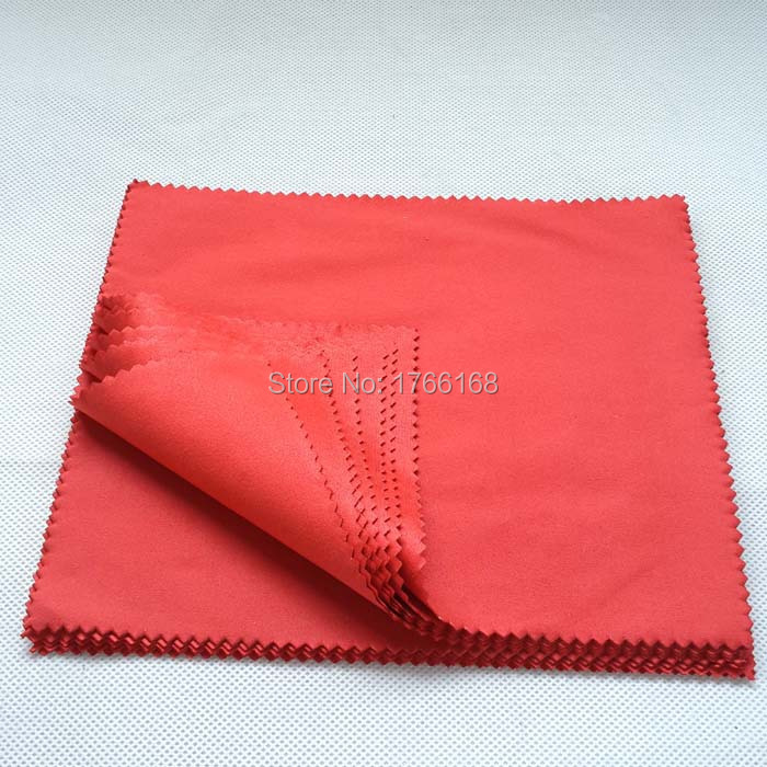 100pcs/lot 15*18cm 200g Red Microfiber Sunglasses Cloth Thick Eyewear Cleaning Cloth Custom Cloth Logo