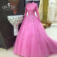 Pink Ball Gown Saudi Arabia Vintage Muslim Evening Dress 2017 High Neck 3D Floral Lace Long