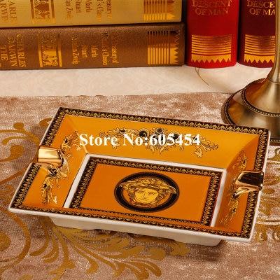 2018 fashion bone china yellow cigar ashtray with cigar brithday gifts