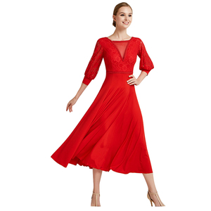 Image 2 - Ballroom Dance Dress Modern Dance Ribbon Long Sleeve Long Length Dress Flamenco Rumba Samba Waltz Dress Standard Practice