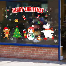 Merry Christmas Wall Sticker DIY Cartoon Christmas Tree Snowman Window Stickers Home Decoration Festival Store Glass Decor