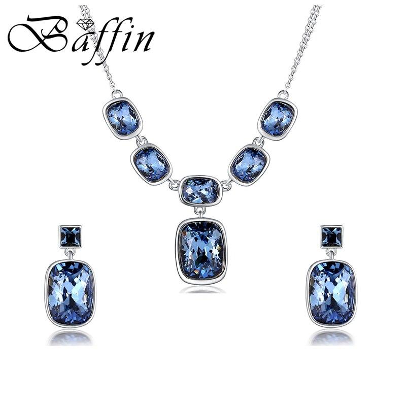 BAFFIN luxe bleu mariage bijoux ensembles cristaux de Swarovski argent couleur pendentif collier balancent boucles d'oreilles pour les femmes