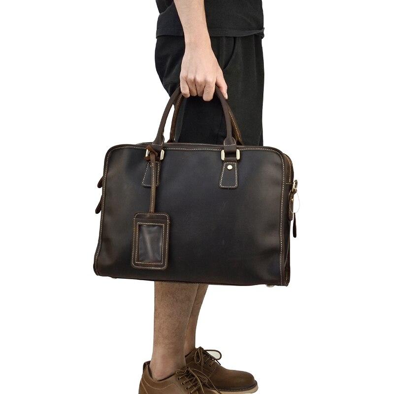 Genuine Leather Men Business Briefcase Vintage Crazy Horse Cow Leather 14 Laptop Handbag Big Cowhide Shoulder