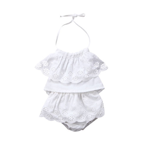 2018 Newborn Baby Girls Lace Sleeveless Top Shorts Skirts 2Pcs Solid Outfits Set Clothes Summer