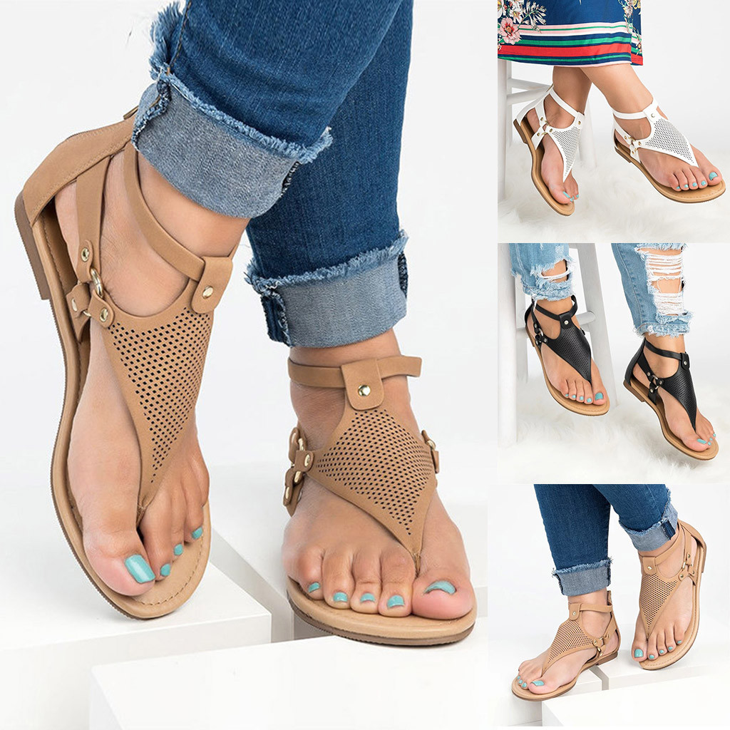 Women's Sandals Casual Rome Solid Hollow Out Open Toe Zipper Sandals Flat With Shoes Soft Beach Female Leisure Sandals T9#