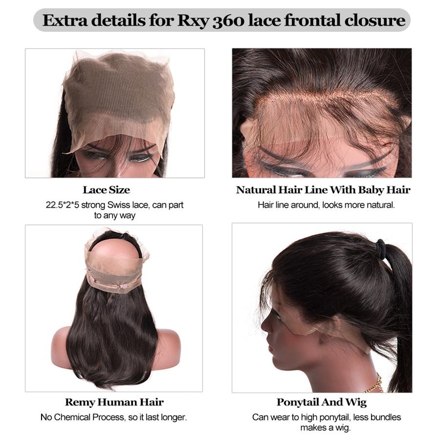RXY Pre Plucked 360 Lace დახურვა - ადამიანის თმის (შავი) - ფოტო 3