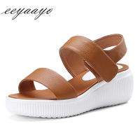 Genuine Leather Summer Women Sandals Cow Leather Wedges Heel Shoes Platform Elastic Band Casual Classic Style