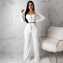 Women Square Neck Buttons Crop Top 2 Piece Set Sexy Long Sleeve Top+High Waist Wide Leg Pants Casual Straight Suits
