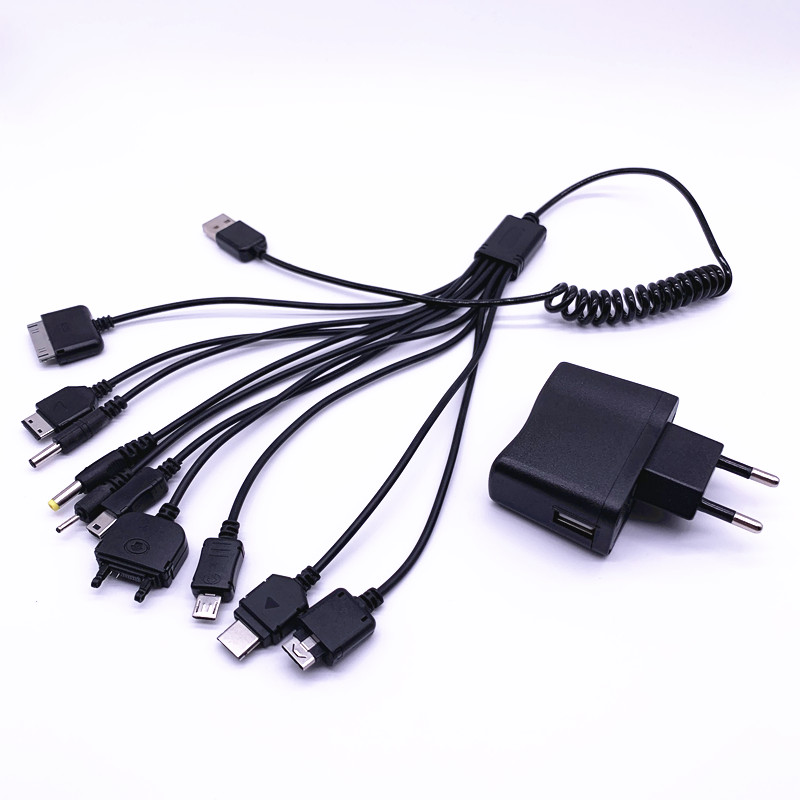 10 In 1 Universal Charger USB Cable For Multiple Cell Phones Black