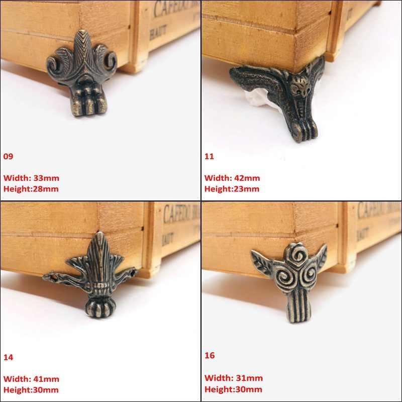 1 個アンティーク真鍮 Jelwery 木箱足脚家具コーナープロテクター中国クラフトブロンズ装飾ブラケット家具ハードウェア