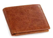 Fashion Men Short Style Genuine Leather Bags Open-mouthed Wax Paper Nylon Lining Wallets