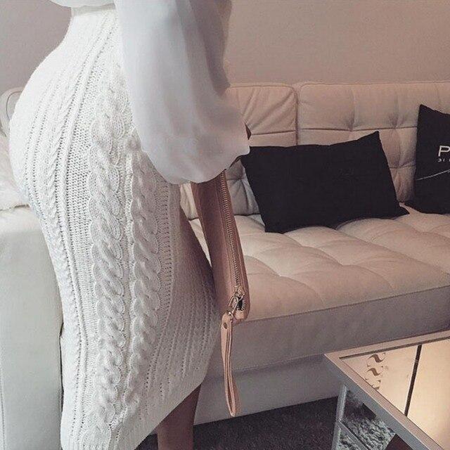 Осень зима женщины элегантный трикотажные юбки вскользь уменьшают bodycon твист трикотаж высокой талией юбка-карандаш femme теплый вязание юбка