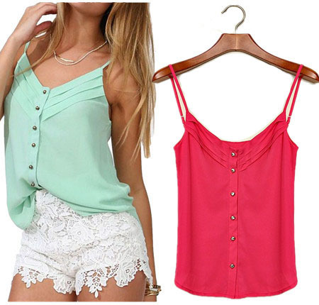 Hot Sale Women Chiffon Blouse Tops Spring and Summer Candy Color Slim Camisoles Ladies Sexy Casual Vest Shirt Plus Size S-3XL