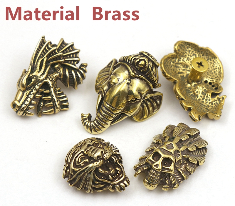 Brass Tiger Dinosaur Elephant Skull Embossed Metal Pattern Purse Button Buckle For Wallet Bag Phone Case Dog Collar Accessories