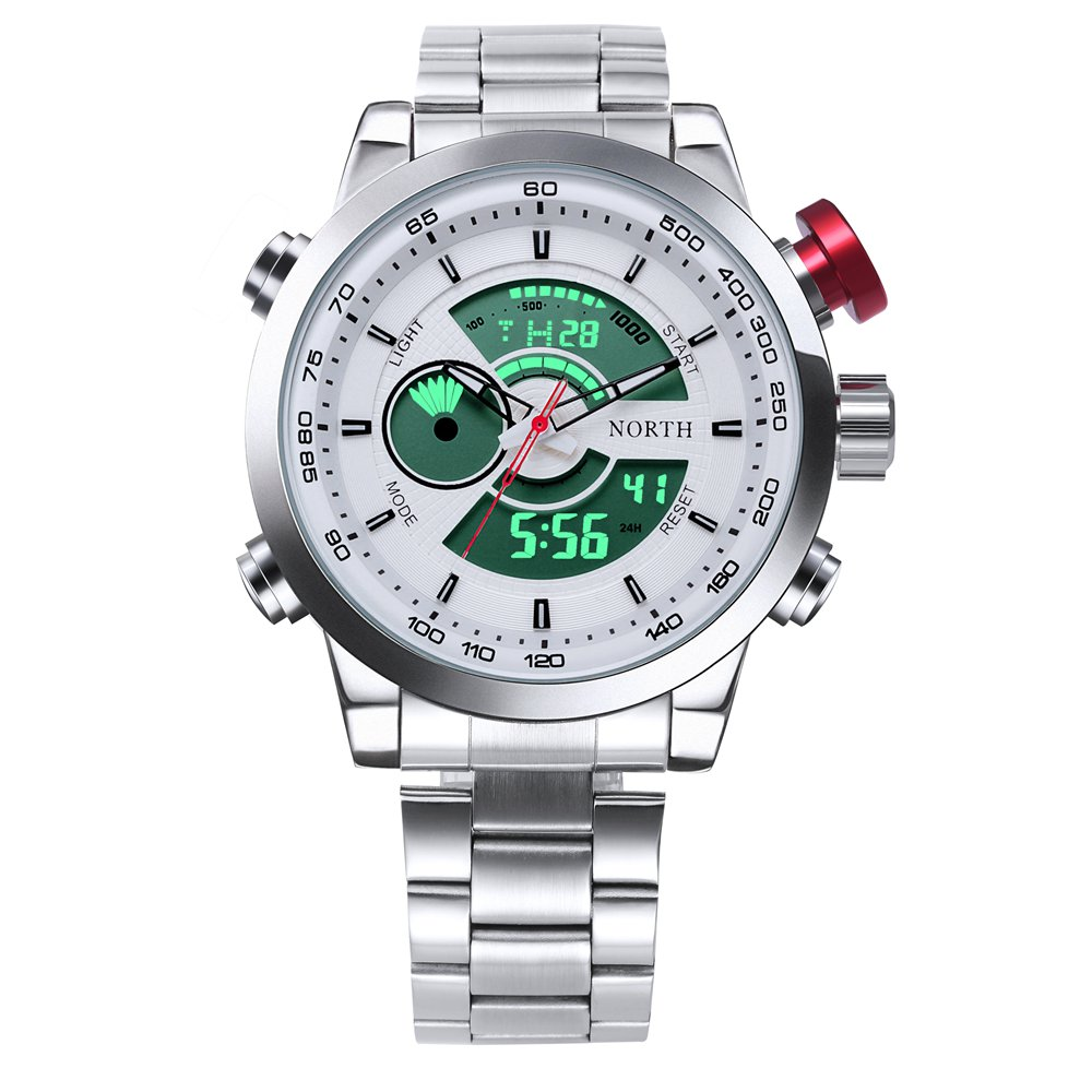 2017 North Fashion Men Sport Watches Silver Stainless Steel Dual Time Led Display Quartz Man Watch Waterproof Chronograph Clock weide popular brand new fashion digital led watch men waterproof sport watches man white dial stainless steel relogio masculino