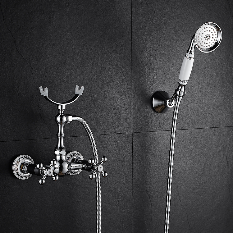 Home Improvement Alert Bathtub Faucets Luxury Silver Brass Bathroom Rain Handheld Shower Double Handle Ceramics Telephone Type Bath Mixer Tap As Effectively As A Fairy Does