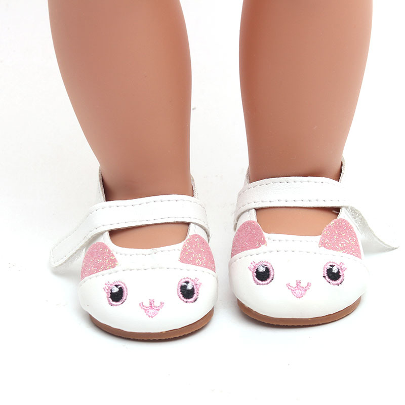 Fashion Leather Shoes Fits 18 Inch Doll 43CM Dolls Baby Doll DIY Shoes For 40cm 38cm Baby Doll Accessories Girl Gift in Dolls Accessories from Toys Hobbies