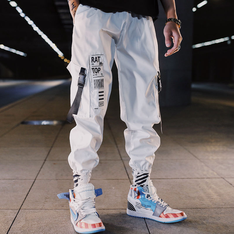 2019 ins Men Pants Casual Mens hip hop rap Male Trousers street Korean Straight Harem overall breathing loose ankle banded Pant