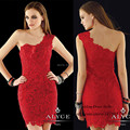 Modest Red Lace Short Cocktail Party Dress One Shoulder Imported Party Dresses Beads Sheath Vestidos de Festas 2015 Curto