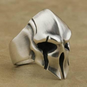 LINSION 925 Sterling Silver Guard Helmet Ring Mens Biker Rock Punk Ring TA08 US Size 7~15
