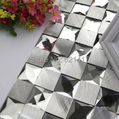nine surface with diamond mirror aluminum metal mosaic tiles HMGM1067 for bathroom home improvement kitchen backsplash