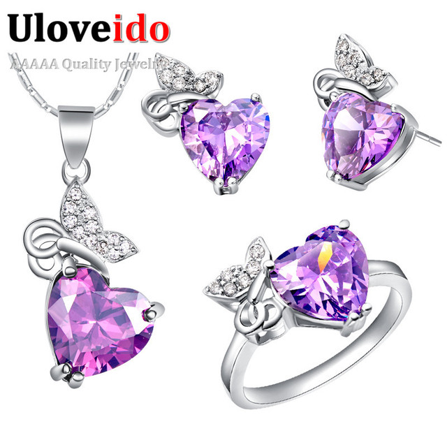 Joyería de la boda conjuntos para las novias de novia corazón púrpura collar y pendientes de la joyería del anillo de cristal decoraciones anel uloveido t443