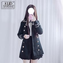 Gothic Lolita Jk Uniform Jacket Shirt Shorts Vintage Shirt Army Double Breasted Tail Coat Kawaii Girl Preppy Chic Academic Style vintage british detective cat women neko paw print tie double breasted brown cape cloak cute preppy style lolita outwear winter