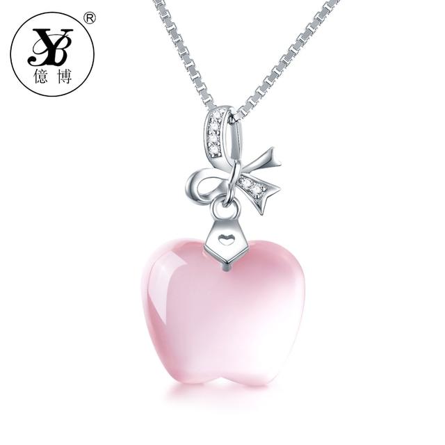 Yb jewelry women real necklace 925 sterling silver pink crystal yb jewelry women real necklace 925 sterling silver pink crystal apple pendant pink quartz choker fine aloadofball Choice Image