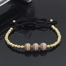 Men Bracelet Copper CZ Ball Charm Bangle 4mm Beads Braiding Jewelry for Women and Pulseras Masculina