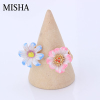MISHA Lovely Flowers Wedding Ring For Women Ring Adjustable Fine Jewelry For Friend Young Girl Child Gift L464