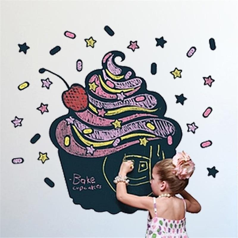 creative Ice Cream Chalkboard / Blackboard painting home decal wall sticker quote 3D DIY kids room nursery wall door mural art