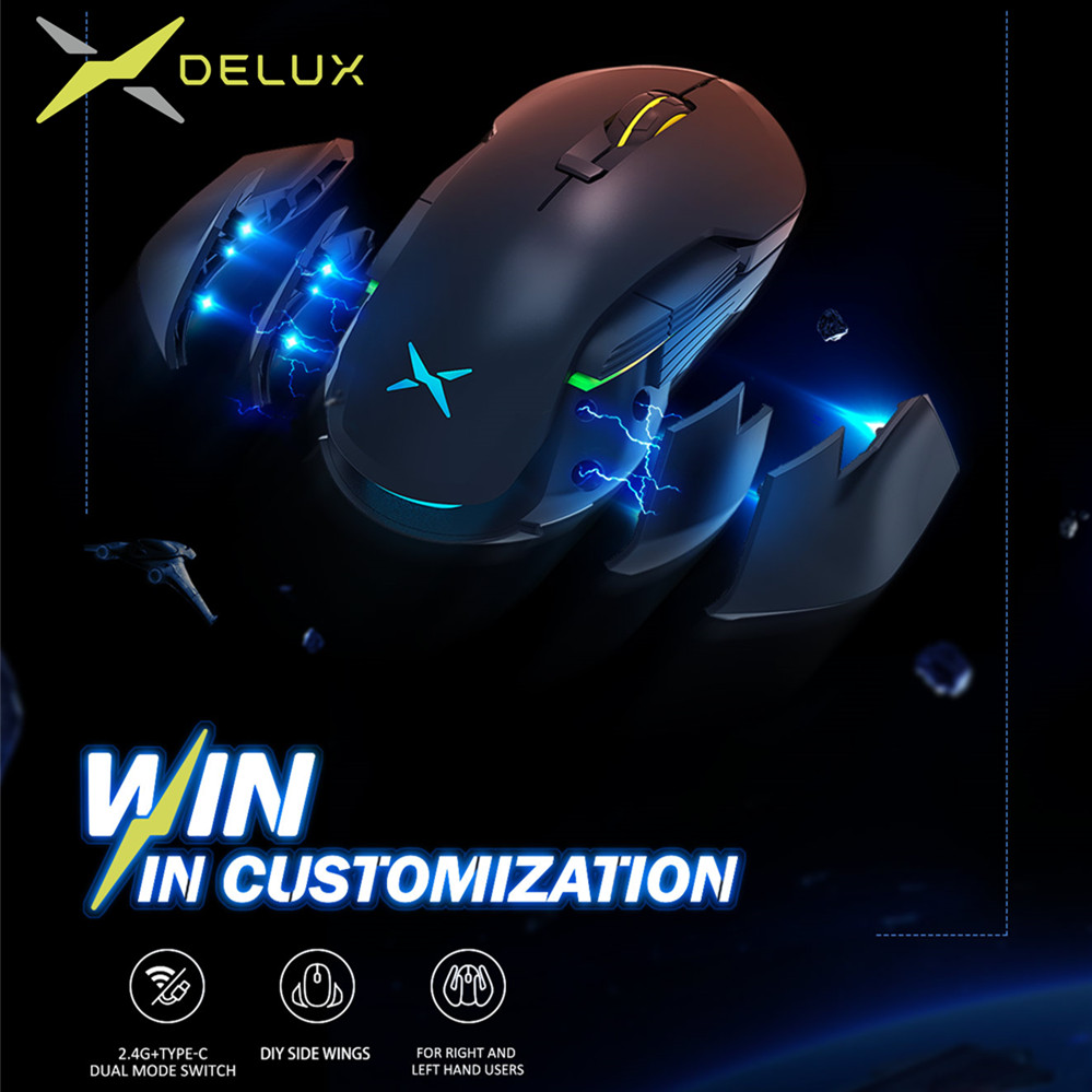 Delux M627 DIY Side Wings Wired/Wireless Gaming Mouse DPI 5000 8 Buttons RGB Optical Left and Right hand Mice For PC Game User