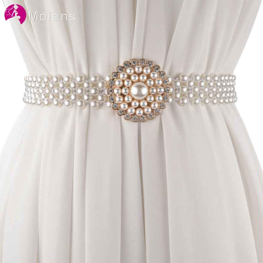 MOLANS Korea Sweet Pearl Female Wide-edged Bridal Belt for Wedding Dress Fashion Floral Decoration Elastic Girdle Chain Ornament