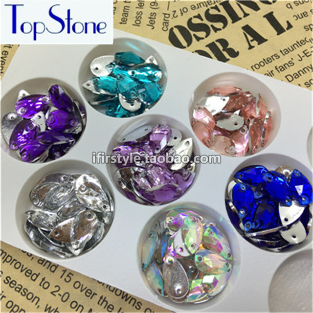100pcs 7x12mm Teardrop All Colors Sew On Rhinestones Flatback Droplet  Sewing Stone Acrylic Resin Crystal With d7e85cd84f53