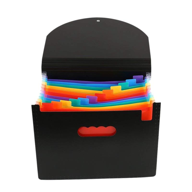 13 Pockets Expanding Files Folder A4 Expandable Portable File OrganizerMulticolour Stand Plastic Business File Organizer Box